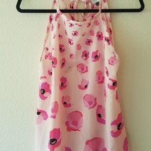 Cabi Pink Poppy Floral Print Tie Back Halter Tank